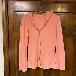 Peach colored waffle patterned jacket w/hood